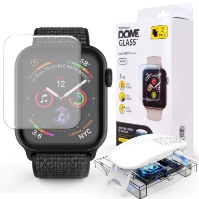 WHITESTONE DOME Tempered Glass Fullcover 3D 9H 0.33MM FULL CURVED for APPLE WATCH 4 (44MM) - CLEAR