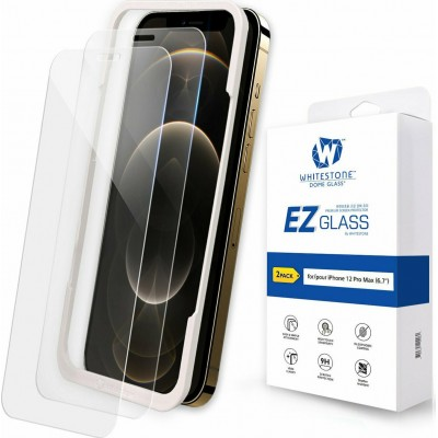 WHITESTONE DOME Tempered Glass Fullcover EZ Glass 3D 9H 0.33MM FULL CURVED for Apple iPhone 12 Pro Max 6.7 - CLEAR - 2 PACK
