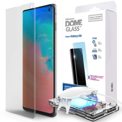 WHITESTONE DOME Tempered Glass Fullcover 3D 9H 0.33MM FULL CURVED for Samsung Galaxy S10 - CLEAR